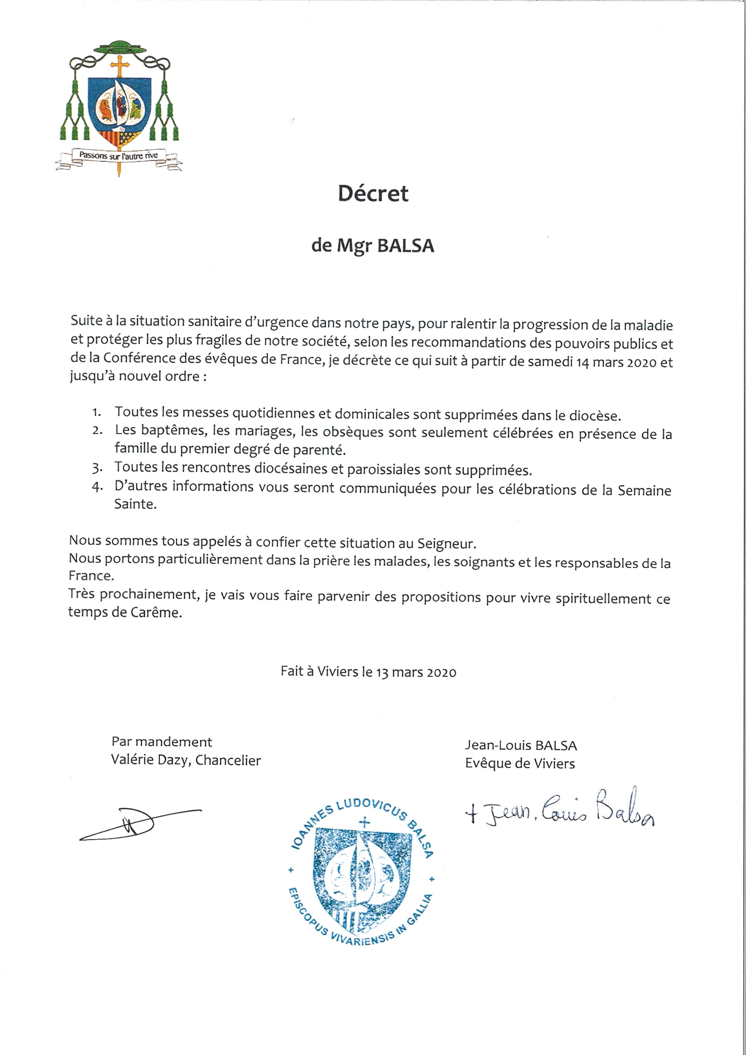 Décret de Mgr Balsa 13 mars 2020